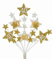 Star age 40th birthday cake topper decoration in gold and white - free postage
